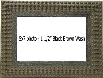 Holds 5X7 photo in BLACK/BROWN WASH frame