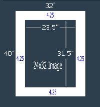 10 Pk 8-PLY (archival) White 32x40 Single for 24x32 image (23.5 x 31.5 opening)