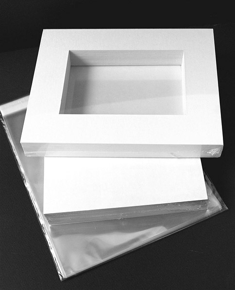 6-Ply 16x20 KIT - White (archival) mat for 11x14 image (10.5 x 13.5 opening) with Foam Backing & Bags -15 pack