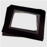 24 Pk Standard Double Black 11x14 for 8x10 image (7.5 x 9.5 opening)